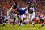 Missouri Tigers tailback Marcus Murphy rushes downfield for a first down during the second quarter.  Florida Gators vs Missouri Tigers.  October 18th, 2014. Gator Country photo by David Bowie.