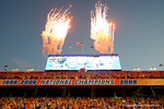 The fireworks go off as the Florida Gators take the field.  Florida Gators vs Missouri Tigers.  October 18th, 2014. Gator Country photo by David Bowie.