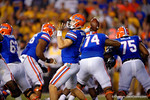 Florida Gators quarterback Jeff Driskel throws downfield during the third quarter.  Florida Gators vs Missouri Tigers.  October 18th, 2014. Gator Country photo by David Bowie.