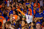 A Florida Gators fan cheers on her team during the third quarter.  Florida Gators vs Missouri Tigers.  October 18th, 2014. Gator Country photo by David Bowie.