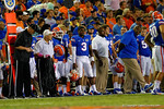 Florida Gators quarterback Treon Harris stands on the sideline early in the first quarter.  Florida Gators vs Missouri Tigers.  October 18th, 2014. Gator Country photo by David Bowie.