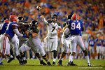 Missouri Tigers quarterback Maty Mauk throws downfield during the second quarter.  Florida Gators vs Missouri Tigers.  October 18th, 2014. Gator Country photo by David Bowie.
