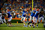 Florida Gators quarterback Jeff Driskel throws deep down field during the first quarter.  Florida Gators vs Missouri Tigers.  October 18th, 2014. Gator Country photo by David Bowie.
