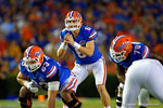 Florida Gators quarterback Jeff Driskel gets ready for the snap during the first quarter.  Florida Gators vs Missouri Tigers.  October 18th, 2014. Gator Country photo by David Bowie.