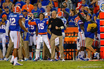 Florida Gators defensive coordinator D.J. Durkin signals the play call to the defense during the fourth quarter.  Florida Gators vs Missouri Tigers.  October 18th, 2014. Gator Country photo by David Bowie.