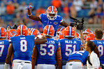 Florida Gators wide receiver Andre Debose gets the team pumped up prior to kick off.  Florida Gators vs Missouri Tigers.  October 18th, 2014. Gator Country photo by David Bowie.