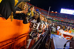 Missouri Tigers defensive lineman Markus Golden celebrates with the Missouri fans following their win.  Florida Gators vs Missouri Tigers.  October 18th, 2014. Gator Country photo by David Bowie.