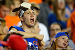 A Florida Gators fan in a cow hat cheers on his team during the second quarter.  Florida Gators vs Missouri Tigers.  October 18th, 2014. Gator Country photo by David Bowie.