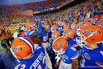 The Florida Gators take the field for the start of the game against Missouri.  Florida Gators vs Missouri Tigers.  October 18th, 2014. Gator Country photo by David Bowie.