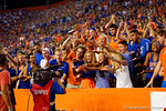 A group of Florida Gator students pose for the ESPN cameras during the second quarter.  Florida Gators vs Missouri Tigers.  October 18th, 2014. Gator Country photo by David Bowie.