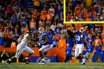 Florida Gators quarterback Treon Harris throws deep down field leading to an interception during the fourth quarter.  Florida Gators vs Missouri Tigers.  October 18th, 2014. Gator Country photo by David Bowie.