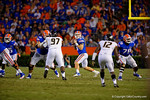 Florida Gators quarterback Jeff Driskel looks downfield for an open receiver during the third quarter.  Florida Gators vs Missouri Tigers.  October 18th, 2014. Gator Country photo by David Bowie.