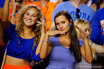 Two beautiful Florida Gators fans pose for the camera during the thrid quarter.  Florida Gators vs Missouri Tigers.  October 18th, 2014. Gator Country photo by David Bowie.