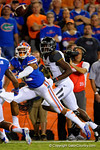 Florida Gators defensive back Quincey Wilson attempts to catch the interception during the second quarter.  Florida Gators vs Missouri Tigers.  October 18th, 2014. Gator Country photo by David Bowie.