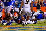 Florida Gators quarterback Treon Harris rushes into the endzone late in the fourth quarter to bring the score to 42-17.  Florida Gators vs Missouri Tigers.  October 18th, 2014. Gator Country photo by David Bowie.