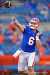 Florida Gators quarterback Jeff Driskel passes downfield during pre-game drills.  Florida Gators vs Missouri Tigers.  October 18th, 2014. Gator Country photo by David Bowie.