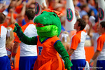 Alberta walks the sideline during the game pumping up the crowd.  Florida Gators vs Eastern Michigan Eagles.  September 6th, 2014. Gator Country photo by David Bowie.