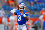 Florida Gators quarterback Treon Harris throws downfied during pre-game warmups.  Florida Gators vs Eastern Michigan Eagles.  September 6th, 2014. Gator Country photo by David Bowie.