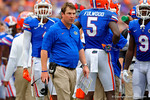 Florida Gators Head Coach Will Muschamp eyes the referrees from the sideline.  Florida Gators vs Eastern Michigan Eagles.  September 6th, 2014. Gator Country photo by David Bowie.