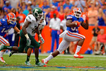 Florida Gators running back Mack Brown breaks free and sprints downfield.  Florida Gators vs Eastern Michigan Eagles.  September 6th, 2014. Gator Country photo by David Bowie.