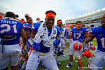 Florida Gators defensive lineman Dante Fowler, Jr. celebrates and dances with his teammates following the win over Eastern Michigan.  Florida Gators vs Eastern Michigan Eagles.  September 6th, 2014. Gator Country photo by David Bowie.