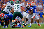 Florida Gators running back Matt Jones gets the hand off and tries to find an open hole.  Florida Gators vs Eastern Michigan Eagles.  September 6th, 2014. Gator Country photo by David Bowie.