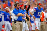 Florida Gators Head Coach Will Muschamp watches on from the sidelines.  Florida Gators vs Eastern Michigan Eagles.  September 6th, 2014. Gator Country photo by David Bowie.