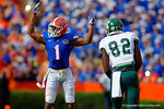 Florida Gators defensive back Vernon Hargreaves, III signals to the crowd to get loud.  Florida Gators vs Eastern Michigan Eagles.  September 6th, 2014. Gator Country photo by David Bowie.