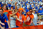 Florida Gators fans do the gator chomp for the camera.  Florida Gators vs Eastern Michigan Eagles.  September 6th, 2014. Gator Country photo by David Bowie.