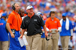 Florida Gators offensive line coach Mike Summers shows his displeasure to his offensive linemen following an unsuccessful fourth down attempt by the Gators.  Florida Gators vs Eastern Michigan Eagles.  September 6th, 2014. Gator Country photo by David Bowie.