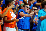 A Florida Gators fan dances in the stands.  Florida Gators vs Eastern Michigan Eagles.  September 6th, 2014. Gator Country photo by David Bowie.