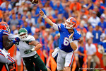 Florida Gators quarterback Jeff Driskel rifles the ball downfield.  Florida Gators vs Eastern Michigan Eagles.  September 6th, 2014. Gator Country photo by David Bowie.