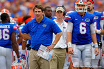 Florida Gators Head Coach Will Muschamp and Florida Gators quarterback Jeff Driskel look on from the sideline.  Florida Gators vs Eastern Michigan Eagles.  September 6th, 2014. Gator Country photo by David Bowie.