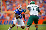 Florida Gators defensive lineman Alex McCalister attempts to avoid the block of Eastern Michigan lineman Robert McFadden.  Florida Gators vs Eastern Michigan Eagles.  September 6th, 2014. Gator Country photo by David Bowie.