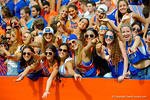 Florida Gators fans cheer on their team from the student section.  Florida Gators vs Eastern Michigan Eagles.  September 6th, 2014. Gator Country photo by David Bowie.