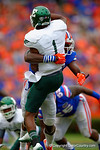 Florida Gators defensive lineman Alex McCalister makes the hit on Eastern Michigan quarterback Rob Bolden.  Florida Gators vs Eastern Michigan Eagles.  September 6th, 2014. Gator Country photo by David Bowie.