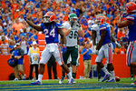 Florida Gators running back Matt Jones celebrates in the endzone following his touchdown run.  Florida Gators vs Eastern Michigan Eagles.  September 6th, 2014. Gator Country photo by David Bowie.