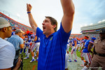 Florida Gators Head Coach Will Muschamp raises his hands into the air in celebration following the Gators win over Eastern Michigan.  Florida Gators vs Eastern Michigan Eagles.  September 6th, 2014. Gator Country photo by David Bowie.