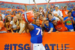 Florida Gators offensive lineman Max Garcia celebrates with the fans following the win of Eastern Michigan.  Florida Gators vs Eastern Michigan Eagles.  September 6th, 2014. Gator Country photo by David Bowie.
