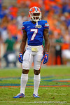 Florida Gators defensive back Duke Dawson waits during a TV timeout.  Florida Gators vs Eastern Michigan Eagles.  September 6th, 2014. Gator Country photo by David Bowie.