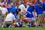 Florida Gators Head Coach Will Muschamp and the training staff assist to Florida Gators tight end Jake McGee after he broke his tibia and fibula on the play.  Florida Gators vs Eastern Michigan Eagles.  September 6th, 2014. Gator Country photo by David Bowie.