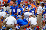 Florida Gators quarterback Jeff Driskel and Florida Gators quarterback Christian Provancha look on as the Florida Gator trainers and doctors tend to tight end Jake McGee.  Florida Gators vs Eastern Michigan Eagles.  September 6th, 2014. Gator Country photo by David Bowie.