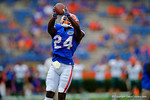 Florida Gators defensive back Brian Poole makes a leaping over the shoulder catch during pre-game drills.  Florida Gators vs Eastern Michigan Eagles.  September 6th, 2014. Gator Country photo by David Bowie.