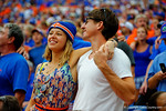 Florida Gator fans sing the school song during the thrid quarter intermission.  Florida Gators vs Eastern Michigan Eagles.  September 6th, 2014. Gator Country photo by David Bowie.