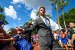 Florida Gators quarterback Jeff Driskel and the Florida Gators march into Ben Hill Griffin Stadium greeting the Florida fans before the start of the game versus the Idaho Vandals.   Florida Gators vs Idaho Vandals.  August 30th, 2014. Gator Country photo by David Bowie.