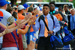 Florida Gators defensive back Vernon Hargreaves, III and the Florida Gators march into Ben Hill Griffin Stadium greeting the Florida fans before the start of the game versus the Idaho Vandals.   Florida Gators vs Idaho Vandals.  August 30th, 2014. Gator Country photo by David Bowie.