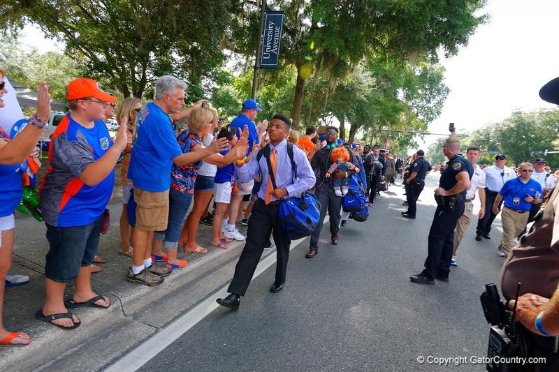 The Florida Gators start of the 2014 football season with the Florida Gators Gator Walk.