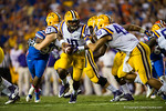 LSU Tigers quarterback Anthony Jennings turns to hand off the ball during the second quarter.  Florida Gators vs LSU Tigers.  October 11th, 2014. Gator Country photo by David Bowie.