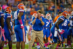 Florida Gators Head Coach Will Muschamp getting fired up during pre-game warmups.  Florida Gators vs LSU Tigers.  October 11th, 2014. Gator Country photo by David Bowie.