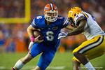 Florida Gators quarterback Jeff Driskel rushes downfield during the first quarter.  Florida Gators vs LSU Tigers.  October 11th, 2014. Gator Country photo by David Bowie.
